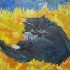 Sold A cat disturbed from its grooming by the viewer.SOLD