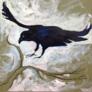 Moody painting of a raven alighting on a branch