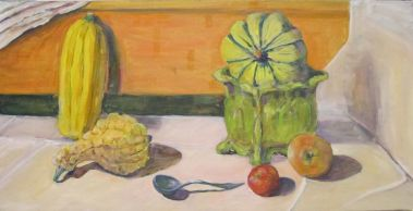 A light-filled still life with Fall fruit and vegetables
