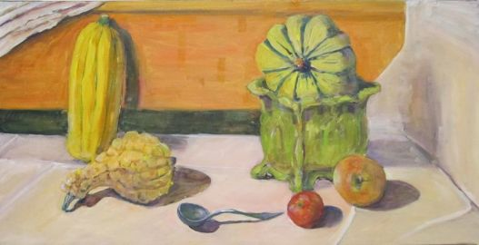 SOLD - A light-filled still life with Fall fruit and vegetables