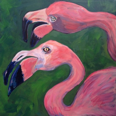 SOLD - Exotic pink flamingos on a tropical green background