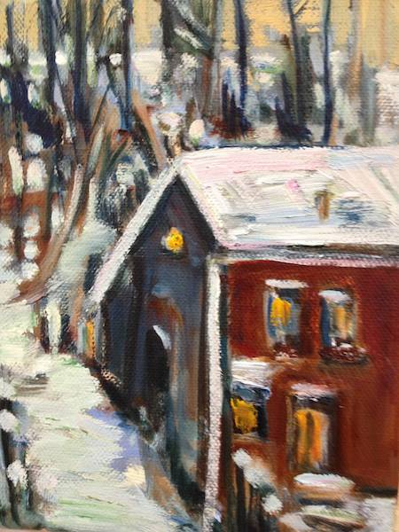 SOLD - An intimate oil painting of a view from the artists' Studio window which overlooks an alleyway, backyards and the East escarpment in Owen Sound.