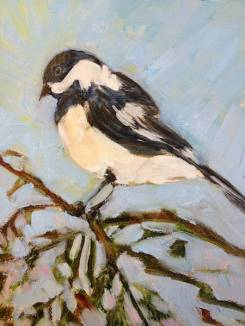 SOLD - Single chickadee, perched on a cedar branch, highlighted against a pale sky.