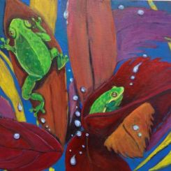 Small green frogs on red leaves with raindrops.