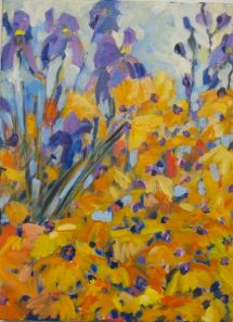 Beautiful garden with purple iris and golden rudbeckia. From There Once Was A Garden Series.