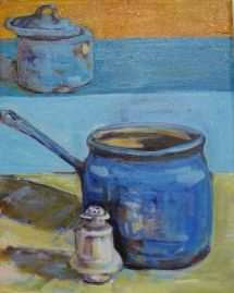 SOLD-Kitchen still life with blue enamel pots and ironstone salt shaker.