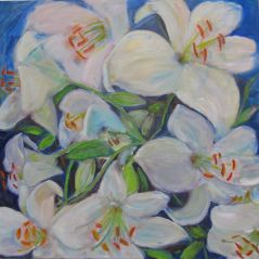 """Huge white """"Casa Blanca"""" lilies from the Larkwhistle gardens, Bruce Peninsula"""
