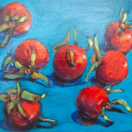 SOLD- Intense red rose hips on a beautiful blue background.