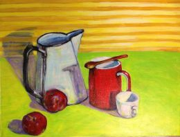 Light filled kitchen still life with antique enamel pitcher, vibrant red mug and plums
