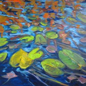 Skye Lake, Bruce Peninsula in the Fall with waterlily leaves turning colour.