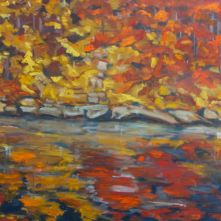 "Autumn on the water, 20x20"" oil on canvas A painting inspired by the brilliant reflections of Autumn leaves in cold dark water"