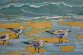 "a detail from ""Clamming"" oil on canvas 16x20"" Sauble Beach, Ontario, the gulls are waiting for the zebra mussels to be washed up onto the sand from the rough waters of Lake Huron"