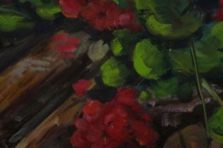 "a detail from Geraniums on wood pile - oil on canvas 16x20"" My partner's mother always had pots of bright geraniums at the family cottage. These were waiting to be potted up"