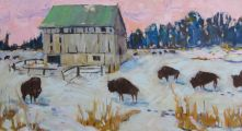 "SOLD-The herd - bison 12x24""There are several bison farms on the Bruce Peninsula."