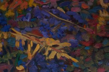 "SOLD-Thicket - oil painting 6x6""A small intimate painting of a thicket, full of colour"