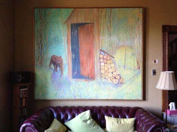 surrealist, landscape, oil painting, animal, dog, fox, wolf, challenges, woodshed, twilight. daybreak