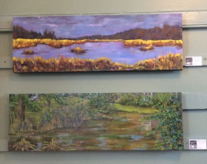 Two paintings in the Gallery: Swamp above, Pond III below it.