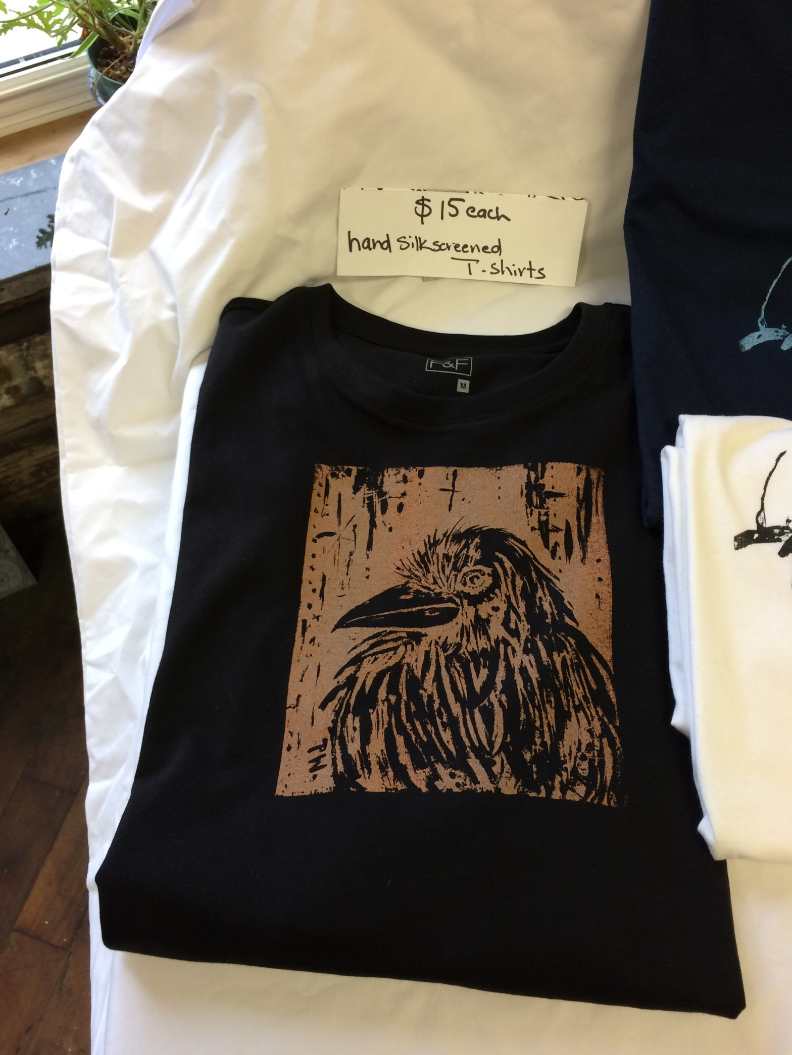 T-shirt, Raven motif, hand printed, silkscreened, original design