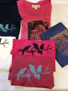 hand silkscreened t-shirts, original design, crow motif, raven motif,