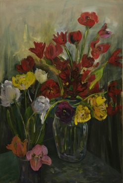 "Market flowers - oil- 36x24"" $650"