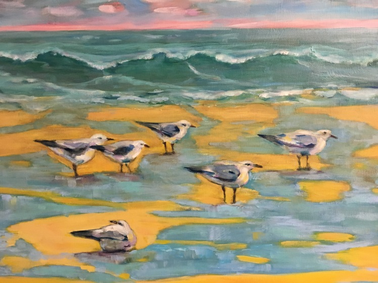 Gulls, herring gulls, water, seascape, lake, storm, oil, painting